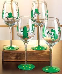 Beautiful Handpainted Whimsical Frog Wine Glasses! Photons!