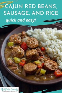 This quick and easy red beans and rice recipe is thick and creamy with all the flavors of New Orleans everyone loves.This recipe is ready to eat in under 30 minutes, making it a perfect weeknight meal! Creamy creole red beans, smoked sausage, cajun seasoning, and trinity simmered together & served over hot cooked rice. Easy Main Dish Recipes, Best Easy Dinner Recipes, Side Dishes Easy, Meal Recipes, Red Beans And Rice Recipe Easy, One Pot Meals, Easy Meals, Southern Cooking Recipes, Cajun Seasoning
