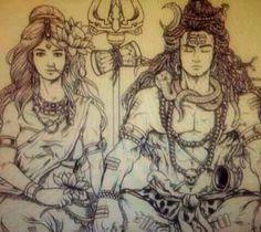 Shiv and shakti Shiva Yoga, Mahakal Shiva, Shiva Art, Hindu Art, Krishna, Shiva Sketch, Shiva Parvati Images, Lord Shiva Family, Shiva Tattoo