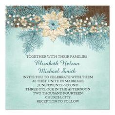 Elegant Wood Winter Holiday Wedding Invite