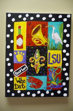 Items similar to Louisiana Loves LSU Fleur De Lis on Etsy Louisiana Art, Louisiana Homes, New Orleans Louisiana, New Orleans Art, All Things New, Fun Things, Lsu, Wow Art, Pictures To Paint