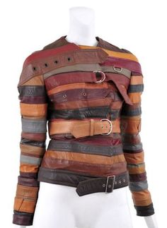 "In chapter it mentions about recycling. This is an example of ""refabricating"" a jacket that was made out of different belts. Belt jacket and other recycled fashion Look Fashion, Diy Fashion, Fashion Design, Fashion Check, Crazy Fashion, Image Mode, Recycled Fashion, Leather Belts, Diy Old Leather Jacket"