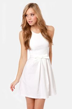Pretty White Dress - Fit and Flare Dress - $39.00