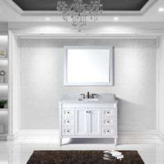 Virtu USA Tiffany 48 inch Single Sink White Vanity with Carrara White Marble Countertop with Backsplash (Tiffany 48 inch White), Size Single Vanities