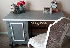 A desk makeover for a sitting room!  Gray desk, original hardware, White Dove accents by Benjamin Moore.