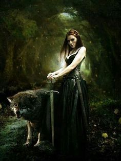 Guardiã da Floresta. Guarda dos Bosques. Dama dos Lobos. Tropa do Lobo. Amantes. - por Artista Desconhecido
