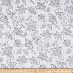 Shannon Embrace Double Gauze Garden Toile Steel from @fabricdotcom  From Shannon Fabrics, this ultra soft double gauze fabric consists of two layers of gauze tacked together. This fabric features an assortment of leaves in various colors. It is perfect for making popular swaddling blankets, bibs, burp cloths, bedding and baby accessories. Colors include grey and white.