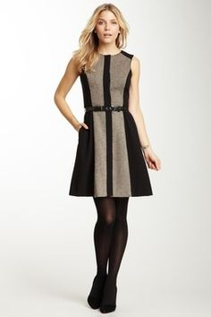Sleeveless Belted Wool Combo Dress