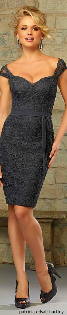 Charcoal Grey Sweatheart Neckline Lace Dress. Elegant women fashion outfit clothing style apparel @roressclothes closet ideas