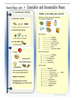 Have got + Countable and Uncountable Nouns