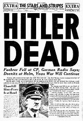 This is a picture of a real news paper that was copied. after over 2,000,000 deaths Hitler was defeted. Huzah!!!