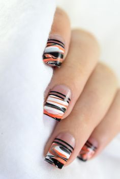 Halloween Marble Nail Art! - smooshy marble - halloween nails