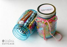 Happy Birthday Printable Labels for Mason Jar Gifts from @My Sister's Suitcase print on OnlineLabels.com Full Sheet adhesive labels then cut to size.