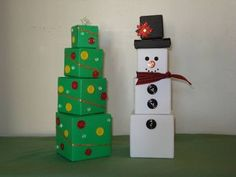 Christmas Tree and Snowman Boxes