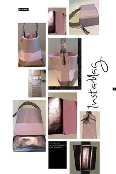 Handtasche Metallic Leder & Baumwolle