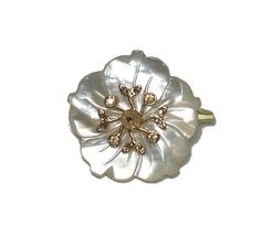 $84.0 Amaro Jewelry Studio 'Illumination' Collection Flower Brooch Set with Mother of Pearl, Quartz and Swarovski Crystals; 24K Yellow Gold PlatedFrom Amaro $84.0