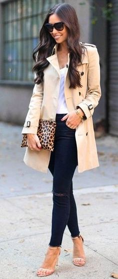 #fall #trending #outfits | Nude Trench + Black and White