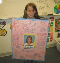 the kids write compliments to the student of the week. If I was a classroom teacher I would so do this! School Classroom, Classroom Activities, School Fun, School Teacher, Classroom Organization, Middle School, High School, School Ideas, Classroom Ideas