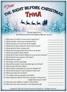 Nightmare Before Christmas Trivia Game The Night Before Christmas trivia questions based on Clement Clarke Moore's famous poem. Christmas Trivia Questions, Christmas Trivia Games, Xmas Games, Holiday Games, Christmas Activities, Christmas Traditions, Christmas Holidays, Christmas Parties, Christmas Crafts