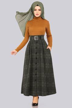 moda selvim Aksesuar Düğmeli Etek 5491MP186 Haki - Thumbnail Blouse And Skirt, Two Piece Skirt Set, Skirts, Dresses, Fashion, Muslim Fashion, Fashion Styles, Vestidos, Moda