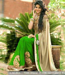 Buy green and cream embroidery half saree half-saree online