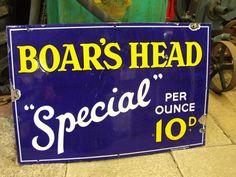 """Original vintage garage shop pub """"Boar's Head Special"""" Enamel advertising sign"""