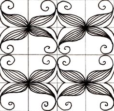 Scrolled Feather grid
