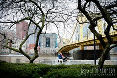 Downtown Pittsburgh engagement photos on the Northshore with beautiful yellow Roberto Clemente Bridge in the background Engagement Ideas, Engagement Pictures, Wedding Engagement, Engagement Session, Roberto Clemente Bridge, Engagement Photography, Wedding Photography, Engagements, Destination Wedding Photographer