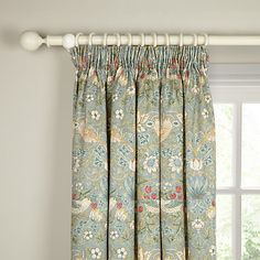 Buy Morris & Co Strawberry Thief Lined Pencil Pleat Curtains Online at johnlewis.com Large Window Curtains, Large Windows, Hallway Curtains, Pleated Curtains, Green Curtains, Curtains With Blinds, Bedroom Curtains, Drapery Panels, Where To Buy Curtains