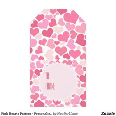 Pink Hearts Pattern - Personalized Gift Tags