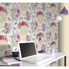 Rasch Sugar Skulls Wallpaper. Pattern: 278026. Repeat: 26.5cm Offset. Roll size: 10 x 52cm (Approx.) Coverage: 5.32m² - B&M Stores.