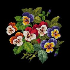 Vintage Pansies Bouquet Flowers Cross Stitch Pattern PDF Berlin Woolwork Pattern Antique Needlepoint Tapestry chart Victorian Flowers Vintage Stiefmütterchen Bouquet 7 Blumen Cross Stitch Pattern P Cross Stitch Tattoo, Cross Stitch Bird, Beaded Cross Stitch, Simple Cross Stitch, Cross Stitch Flowers, Cross Stitch Charts, Cross Stitch Patterns, Victorian Cross Stitch, Vintage Cross Stitches