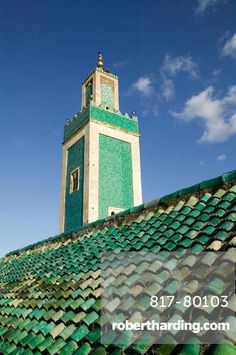 Morocco-Meknes: Exterior View of the Grande Mosque Minaret from the Medersa Bou…