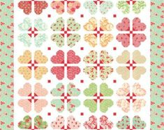 Darling Blossoms PDF Quilt Pattern by Mountain Rose Designs Heart Quilt Pattern, Quilt Block Patterns, Quilt Blocks, Quilting Projects, Quilting Designs, Flower Quilts, Miniature Quilts, Foundation Paper Piecing, Girls Quilts