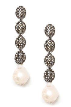 Pave Champagne Diamond & Pearl Drop Earrings by Jewels By Lori K on @HauteLook