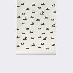 Conejitos negros sobre un fondo blanco roto | telas & papel