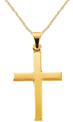 New Solid 14k Yellow Gold Christian Cross Pendant 1.5mm Rope Chain Necklace ** Visit the image link more details.