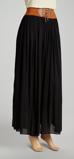 Black & Tan Ruched Tassel Skirt; so, great with 'chunky' sweaters!