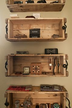 Wooden-crate wall shelves. Wooden crates like these are easy finds on Craigslist. These crafty homeowners decided to take advantage, installing several on their bedroom wall for practical storage.  See this house: Eclectic Repurposing Fits First-Time Homeowners in Utah  More: 29 step-by-step home decorating projects to make you a DIY superstar