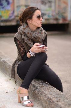 Lace & vest (by Alexandra Per) http://lookbook.nu/look/3377957-lace-vest