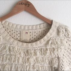 Anthropologie (Far Away from Close) Knit Sweater Fuzzy with fringe! This knit pullover is so cozy over a tee or button down. Perfect with skinny jeans! Very gently worn. Cotton: 56% Nylon: 37%. Angora Rabbit Hair: 7% Anthropologie Sweaters Crew & Scoop Necks