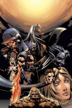 X-Men and Fantastic Four by Pat Lee Comic Book Covers, Comic Books Art, Comic Art, Book Art, Marvel Comics, Marvel Heroes, Fantastic Four, Jean Grey, X Men