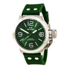 TW Steel TW505 Men's Canteen Fashion Green Dial Green Silicone Strap Watch