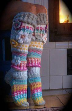 Over the knee socks Thigh High socks Hand knit knee socks Flower knee socks Flower socks Rainbow socks Woman leg warmes Hand knit socks – Knitting Socks Wool Socks, Knitting Socks, Hand Knitting, Beginner Knitting, Crochet Socks Pattern, Crochet Slippers, Moda Crochet, Knit Crochet, Booties Crochet