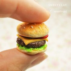 Cheeseburger Miniature Food Charm Polymer Clay Handmade Jewelry by Sweet Clay Creations