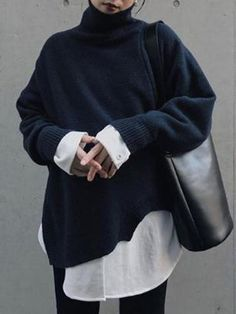 Turtleneck Knitted Sweater Women Autumn Spring Korean Designer Fashion Chic Female Tops Fake Two Piece Pullovers Loose Jumpers Fashion Outfits, Fashion Tips, Fashion Design, Fashion Ideas, Aesthetic Fashion, Parisian Style, Minimalist Fashion, Autumn Winter Fashion, Sweaters For Women