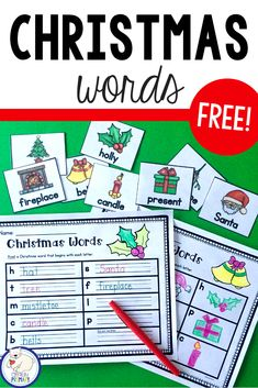 This is a fun free Christmas literacy center activity for kindergarten and first grade. Practice Christmas vocabulary, beginning sounds and sentence writing with this word work activity perfect for literacy stations. Word Work Stations, Word Work Centers, Literacy Stations, Literacy Centers, Christmas Writing, Christmas Words, Christmas Stuff, Kids Christmas, Christmas Crafts