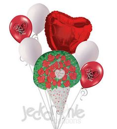 7 pc I Love You Red Roses Valentines Day Balloon Bouquet Be Mine Hugs Kisses