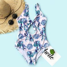 6f252314d6 #blue #flowers Backless #vneck Front Knot Monokini #swimsuitonepiece  Hottest Swimsuits, Best