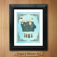Iowa State Map Art 85X11 Ornate Birds Love Map by LegacyHouseArt. $19.95 USD, via Etsy.